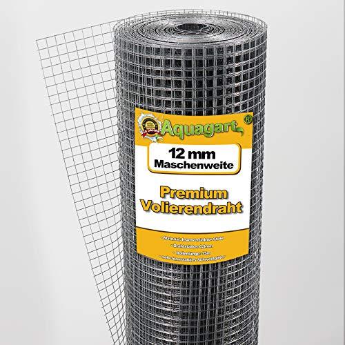 Aquagart® Volierendraht Hasendraht 15m x 1m, Drahtgitter Maschenweite 12mm, verzinkter Maschendraht-Zaun, robustes Schweißgitter