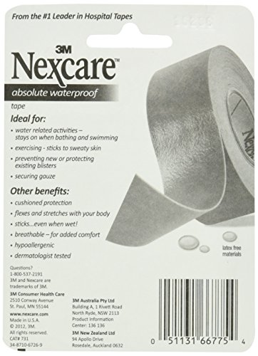 Nexcare Absolute Waterproof First Aid Tape, from The #1 Leader in U.S. Hospital Tapes, Stays on During Sports, Seals Out Water, Dirt and Germs, 1-Inch x 5-Yard Roll