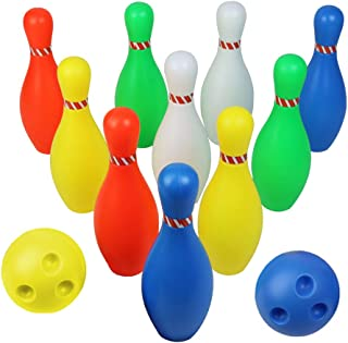 Big Bowling Pins Plastic Bowling Set Game with 12 Pins and 2 Bowling Balls Gift for Ages 2 3 4 5 6 Years Old Toddler Kids Boys Girls Children Fun Outdoor Indoor Educational Toys Sport Family Games