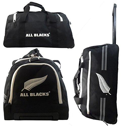 ALL BLACKS–Bolsa de Deporte con Ruedas Mixta niño, Negro/Blanco