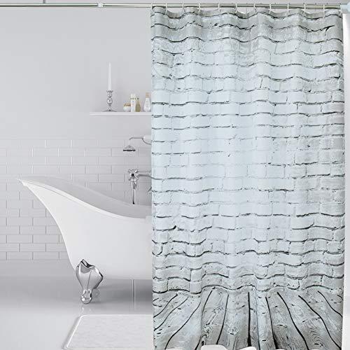 LHUAN 3D Wand Ziegel Duschvorhang Polyester Stoff Wasserdicht Anti-Schimmel & antibakterielle Bad Duschvorhang Beton Struktur Oberfläche mit Haken Bad Produkte (72 * 72 Zoll grau weiß)