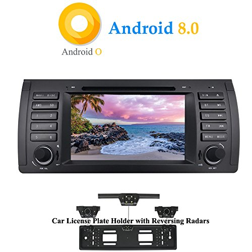 XISEDO Android 8.0 In-Dash 7' Car Stereo Autoradio 1 Din Head Unit 8-Core RAM 4G ROM 32G Sat Nav Car GPS Navigation with DVD Player for BMW 5-E39/BMW X5-E53 (with UK/EU License Plate Frame)