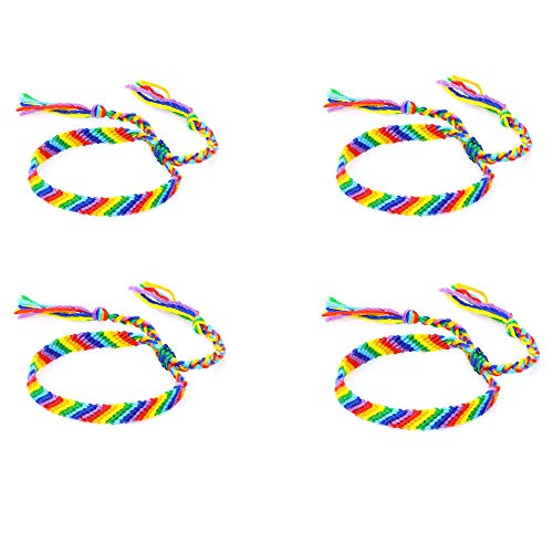 Rainbow Pride Cotton Rope Bracelet Handmade Braided Adjustable Friendship String Wristband Bracelet Bangle for Women Men Unisex Gifts Gay Lesbian-4 Colorful