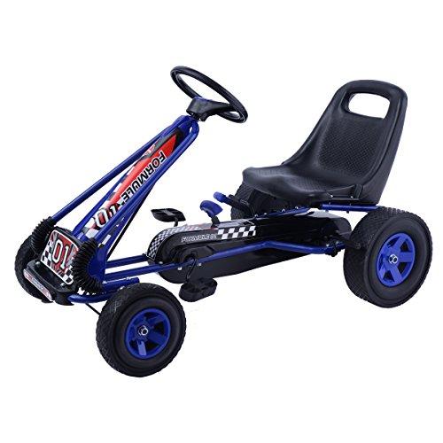 GOPLUS GoKart Go Cart Kettcar Tretauto Tretfahrzeug mit Gummireifen Farbwahl (blau)