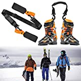 Broadsheet Ski Strap and Ski Boot Strap, Adjustable Cushioned Shoulder Back Band for Family Men Women Kids, Downhill Skiing Equipment Accessories