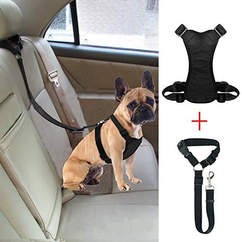BWOGUE Dog Safety Vest Harness with Seat Belt Strap Car Headrest Restraint Pet Dog Adjustable Nylon Mesh Harness Travel Strap Seatbelts Harness
