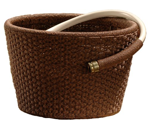Suncast WHP80 Resin Wicker Garden Hose Pot with 80-Foot Hose Capacity (Hose Not Included)