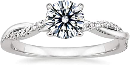 Venetia Twist Vine Pave Realistic 1 2 Carats Simulated Diamond Ring Set Hearts Arrows Cut