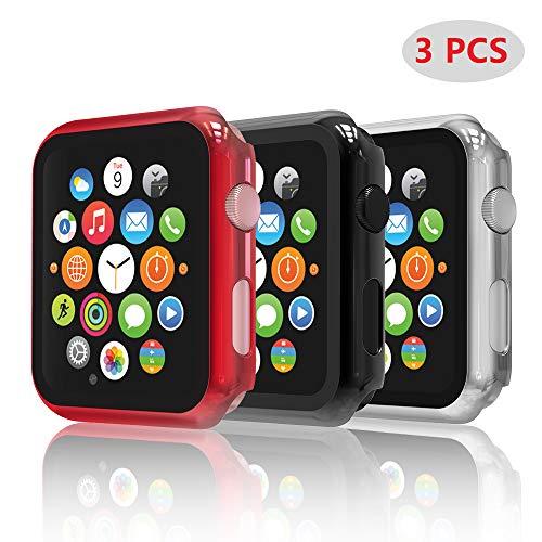 Hianjoo [3-Pack Cover con Vetro Temperato Compatibile per Apple Watch 42mm, Custodia Pellicola Proteggi Schermo Compatibile on Apple iWatch 42mm Series 3/2/1 - Nero, Argento, Rosso
