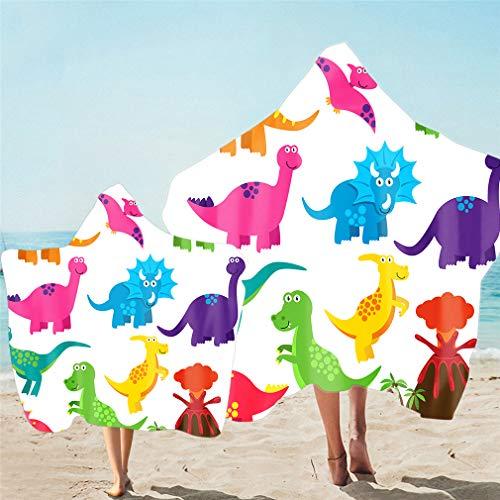 Toalla de Playa con Capucha Para Padres e Hijos Toalla de Baño y Cloa Animal Dinosaurio de Dibujos Animados en 3D Secado Rápido Bata de Baño Poncho Para Familiar (Multicolor 3,Niño 130X150cm)