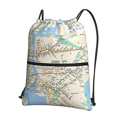 Zaino con coulisse, borsa da palestra, borsa sportiva con tasca con cerniera per uomini e donne, yoga, corsa, escursionismo, atletica, New York, metropolitana