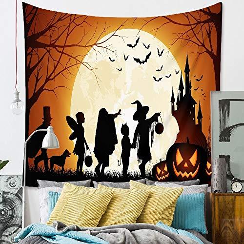 WERT Tapiz de Pared de Halloween Decoraciones Bruja Calabaza Fiesta decoración del hogar Tapiz de Tela de Fondo A5 73x95cm