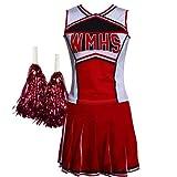 maboobie Uniforme de cheerleader de Varsity College avec pom-poms Tailles 32-46 - Rouge -...