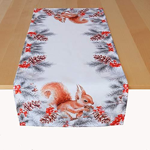 Kamaca Tischläufer 40x90 cm Eichhörnchen mit Nuss hochwertiges Druck-Motiv Eyecatcher Herbst Winter (40x90 cm Tischläufer)