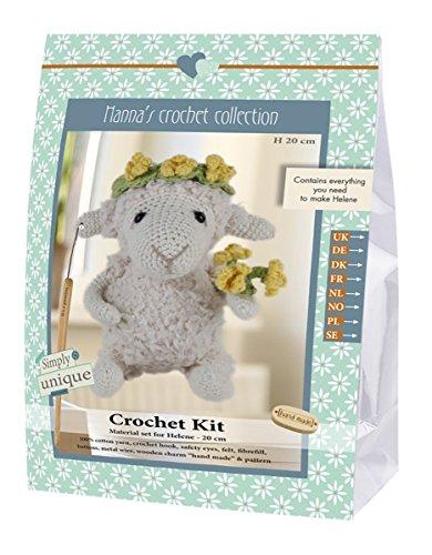 Go Hand Made 80061Sheep, Helene 1Learn to Crochet, Cotton, Grey/Yellow/Green, 16x 7x 22cm