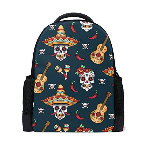 COOSUN Mochila Escolar con diseño de Calavera Mexicana, Mochila de Viaje para portátil