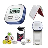 GolfBuddy Voice 2 Golf GPS/Rangefinder Bundle with 1 Magnetic Hat Clip and 5 Ball Markers and Saintnine 2 Ball Sleeve and Belt Clip (White)