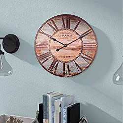 Farmhouse Wall Clock, Wooden Country Decorative Round Clock with Roman Numerals, Indoor Silent Non-Ticking Battery Operated Clock for Living, Dining, Bedroom, Kitchen & Den - 24 Inch, Vintage Green