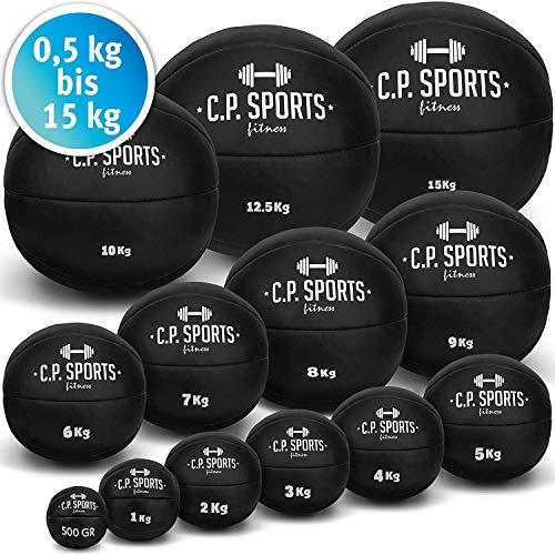 C.P.Sports K5 - Palla medica o da crossfit in pelle, 1-10 kg, colore marrone o nero, 8kg