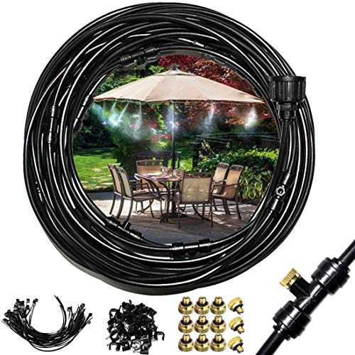 """EONBON Mist Cooling System, 40 Feet (12M) Portable 1/4"""" Outdoor Garden Patio Misting Cooling System Cool Mister System for Lawn Greenhouse Backyards Pool"""