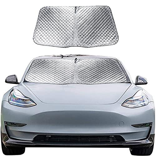 ZWMBAOR Parasol para Automóvil,Parabrisas Delantero Parasol Especial para Automóvil,Protector Solar Multicapa con Aislamiento Térmico,Fácil De Usar,para Tesla Model3 (Plateado)
