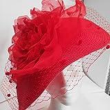 Pamela roja con flor de seda para boda. Hecho a mano