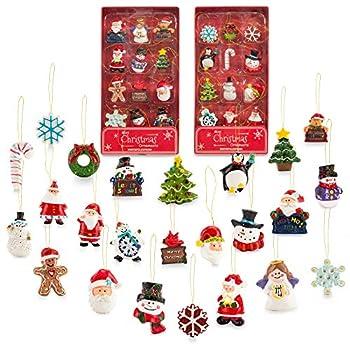 Mini Resin Christmas Ornaments Set of 24 - Rustic Christmas Decorations - Small Miniature Christmas Tree Ornaments - Santa Snowman Gingerbread Angel - Tiny Christmas Tree Decorations with Gift Box!