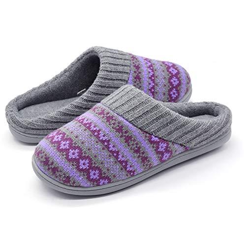 RockDove Sweater Knit Scuff Slippers for Women, Size 5-6 US Women, Periwinkle
