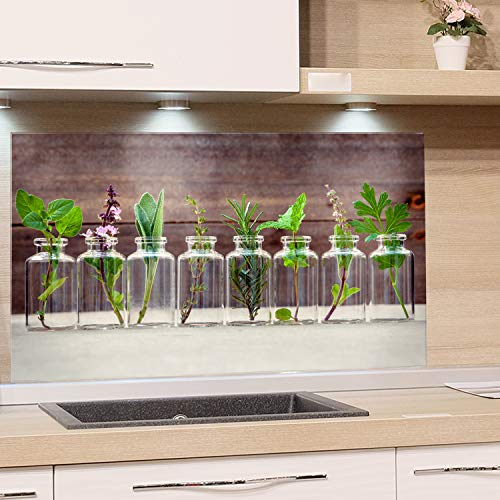 GRAZDesign Spritzschutz Glas für Küche Herd Bild-Motiv Kräuter im Glas Holzoptik Küchenrückwand Küchenspiegel Glasrückwand (80x40cm)