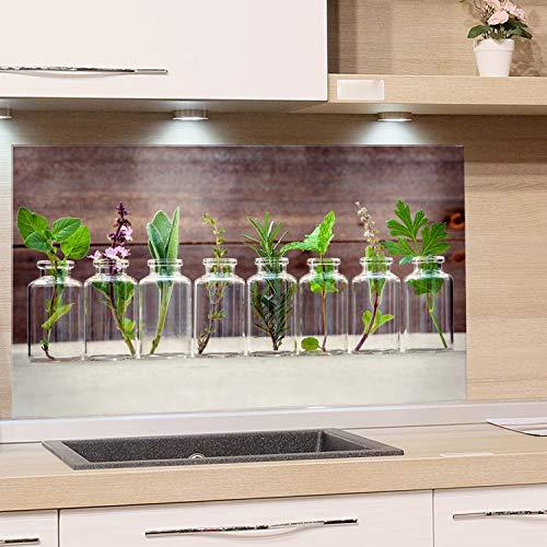 GRAZDesign Spritzschutz Glas für Küche, Herd Bild-Motiv Kräuter im Glas Küchenrückwand Küchenspiegel Glasrückwand (100x60cm)
