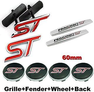 8pcs Sets AM79 ST Racing Front Grille + Fender Side Sticker + Wheel Hub Caps + Back Sticker Car Emblem Badge For Ford Focu...