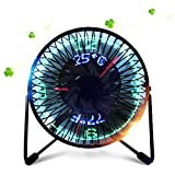 Small USB LED Fan, DECVO Portable Desktop Fan With Real Time Temperature and Build in Message LED Display Personal Small Cooling Fan 360° Rotation Durable for Home and Office (Black)
