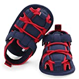 SOFMUO Baby Boys Girls Closed-Toe Sandals Breathable Athletic Soft Sole Anti-Slip Infant Summer Toddler Beach Walking Shoes (Navy&Red,6-12 Months)
