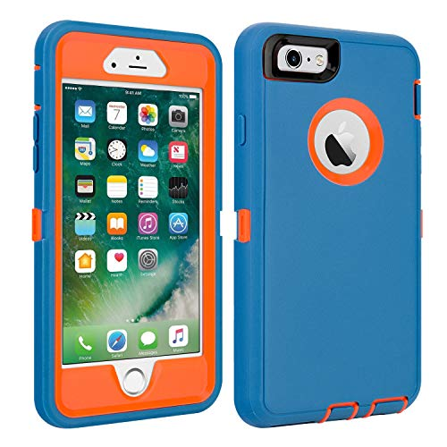 """iPhone 6/6S Case Shockproof High Impact Tough Rubber Rugged Hybrid Case Silicone Triple Protective Anti-Shock Shatter-Resistant Mobile Phone Case for iPhone 6/6S 4.7""""(Blue-Orange)"""