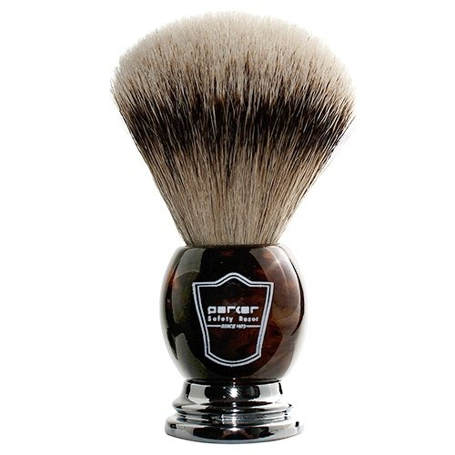 Parker Safety Razor - Faux Horn Handle, 100% Silvertip Badger Men's Shaving Brush & Stand, Hand Crafted with Parker's Long Loft Bristles