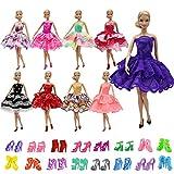 ZITA ELEMENT 10 Piezas de muñecas para 5 Vestido de Noche 5 Pares de Zapatos niñas Princesa Disfraz Fiesta Hecha a Mano de Dama de Honor Mini Vestido Vestidos de Fiesta