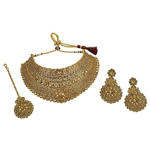 MUCH-MORE Indian Awesome Traditional Shiny Necklaces Earrings with Maang Tikka Jewelry for Women B (LCT)