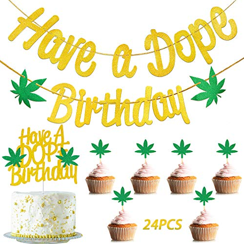 2 Pieces Pot Weed Leaves Birthday Banner and Cake Topper, 24 Pieces Pot Leaf Small Cupcake Toppers for Baby Shower Birthday Party Decoration
