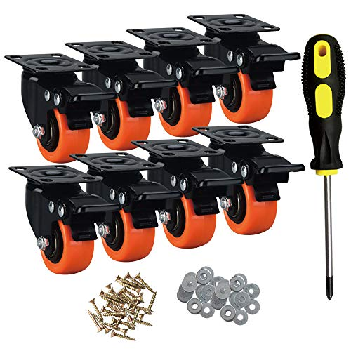 ASRINIEY Casters, 2' Caster Wheels, Orange Polyurethane Castors, Top Plate Swivel Wheels, Casters Set of 8, Locking Casters for Furniture and Workbench, Heavy Duty Casters, 8 Pack Casters with Brake