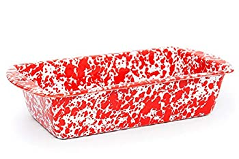 Enamelware Loaf Pan 9 x 5.5 inches Red/White Splatter