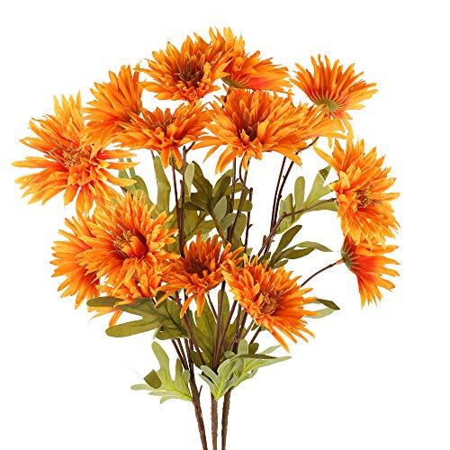 XHXSTORE 3PCS Künstliche Blumen Herbst Kunstblumen Gänseblümchen Plastikblumen Unechte Blumen für Herbstdeko Party Büro Hochzeit Balkon Garten Vase Blumenschmuck Dekoration
