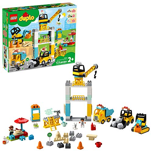 LEGO DUPLO Construction Tower Crane & Construction 10933 Exclusive Creative Building Playset with...