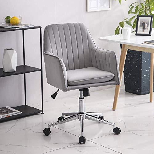 YANGSANJIN Computerbureau,Fluwelen bureaustoel Ergonomisch 360° draaibare computerstoel met gevoerde kussenzitting Verstelbare hoogte (grijs)