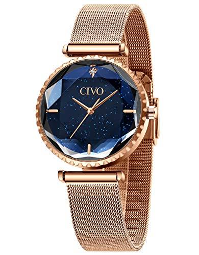 CIVO Relojes Mujer Reloj de Pulsera Oro Rosa Malla de Acero Inoxidable Starry Sky Impermeable para Mujer Señoras Plata Elegante Clásico Vestido de Negocios Casual Relojes Analógicos para Mujeres