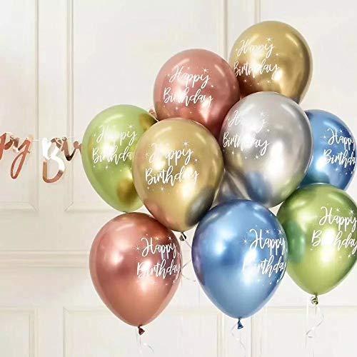12 Inch Multicolor Balloons Metal Balloon Birthday Decorations Baby Shower Happy Birthday Balloons for Party Decor Suit for 16th 20th 25th 30th 35th 40th 50th 60th 70th