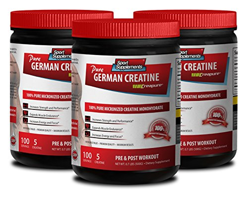 Lean Muscle Diet - German CREATINE Powder - MICRONIZED CREATINE MONOHYDRATE CREAPURE - 500G - 100 Servings - Creatine pre Workout - 3 Cans from Sport Supplements, LLC