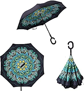 Reverse Folding Inverted Umbrella Double Layer Wind Proof UV Proof Inside Out Car Self Standing Umbrella (peacock)