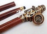 Bastón plegable de latón con mango de brújula vintage de madera de longitud completa, telescópico de latón antiguo en el mango