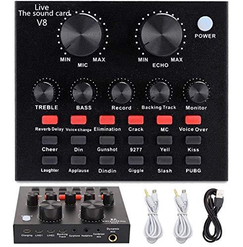 Mini Sound Mixer Board,Live Sound Card voor Live Streaming, Voice Changer Sound Card met meerdere geluidseffecten, Audio…