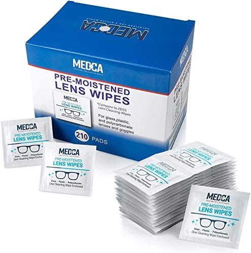 Lens Cleaning Wipes - [210 Pack] Pre Moistened Cleansing Cloths and Individually Wrapped Eyeglass Cleaner Wipe Pads for Phones, Tablet Screens, Helps Clean Cameras, Electronics, Photo Lens and Optics